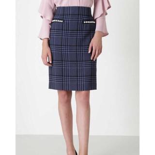 Pinky&Dianne - 新品未使用 定価2.4万 パール付きボタンタイトスカート 青 ブルー