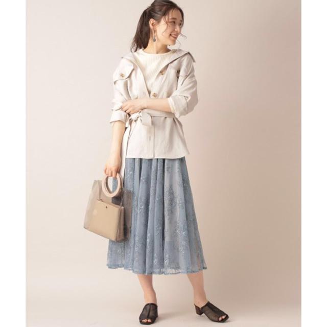 mysty woman(ミスティウーマン)のmysty woman(ミスティウーマン) テレコロングTシャツ アイボリー M レディースのトップス(ニット/セーター)の商品写真