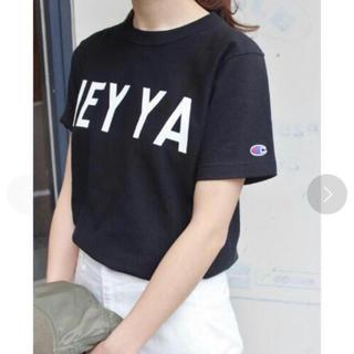 イエナスローブ(IENA SLOBE)のSLOBE IENA Champion コラボTシャツ 黒 S(Tシャツ(半袖/袖なし))
