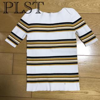 プラステ(PLST)のPLST   ボーダーカットソー M(カットソー(半袖/袖なし))