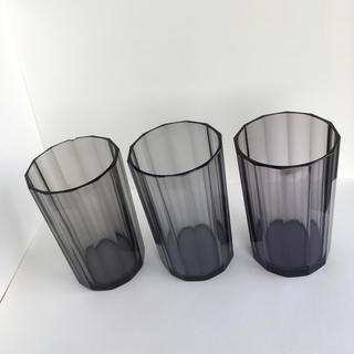アッシュペーフランス(H.P.FRANCE)のアンティーク グラス 黒 グレー 透明 クリアブラック アンカーコップ ガラス(グラス/カップ)