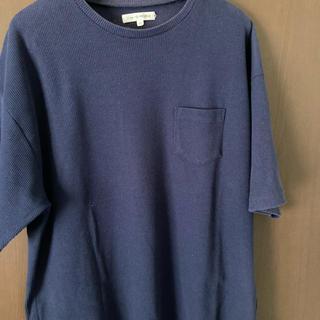 ウーム(WOmB)のメンズ 紺カットソー ドロップショルダー ワッフル地(Tシャツ/カットソー(半袖/袖なし))