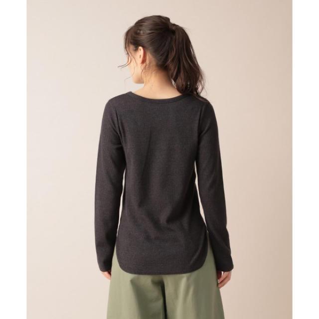 mysty woman(ミスティウーマン)のmysty woman(ミスティウーマン) テレコロングTシャツ ブラックM 黒 レディースのトップス(ニット/セーター)の商品写真