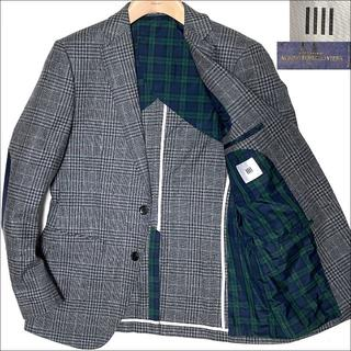 スーツカンパニー(THE SUIT COMPANY)のJ5119 美品 スーツセレクト グレンチェック ツイードジャケット グレーY6(テーラードジャケット)