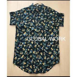 グローバルワーク(GLOBAL WORK)のグローバルワーク花柄シャツワンピース M(ひざ丈ワンピース)