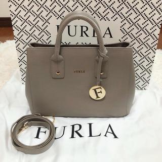 Furla - FURLA フルラ リンダミニトートバッグ ショルダーバッグ グレー 美品