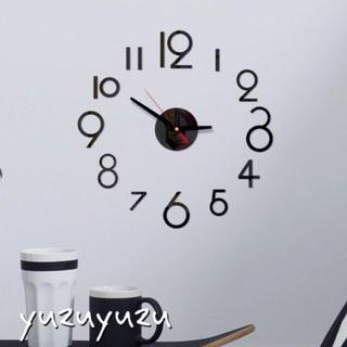 ウォールクロック  掛け時計 ブラック ウォールステッカー DIY おしゃれ(掛時計/柱時計)