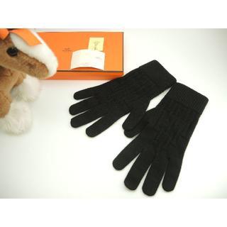 エルメス(Hermes)のエルメス グローブ メンズ カシミア100%黒 手袋 H柄 未使用@ 4(手袋)