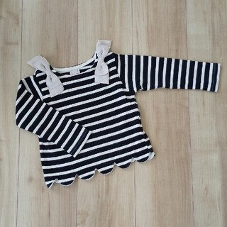 petit main - 【美品 90】petitmain 肩リボンスカラップ長袖Tシャツ 女の子