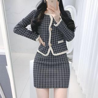 【予約商品】ツイード セットアップ ジャケット スカート 韓国ファッション 秋