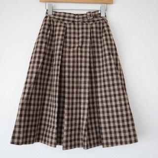 サンタモニカ(Santa Monica)のused ミモレ丈  チェック スカート(ひざ丈スカート)