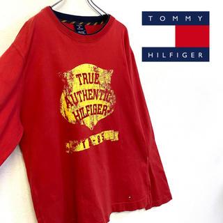 トミーヒルフィガー(TOMMY HILFIGER)の美品 TOMMY HILFIGER 長袖 ロゴTシャツ メンズL(Tシャツ/カットソー(七分/長袖))
