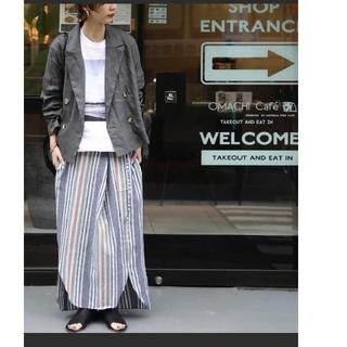 アンティカ(antiqua)の今期 完売 アンティカ 麻混ストライプスカート 変形スカート カフェ風(ロングスカート)