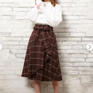 イング(INGNI)の新品 INGNI チェック柄 ラッフルミディスカート ブラウン サイズM(ロングスカート)