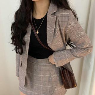 【予約商品】チェック ジャケット キュロット セットアップ 秋 韓国ファッション