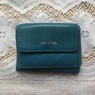 ビームス(BEAMS)の本革 ブルーのミニ財布(財布)