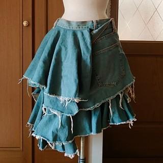 ジュンヤワタナベコムデギャルソン(JUNYA WATANABE COMME des GARCONS)のジュンヤワタナベ コム・デ・ギャルソン ダメージ デニム スカート(ひざ丈スカート)