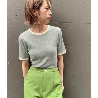 Kastane - kastane 細リブリンガーボーダーTシャツ