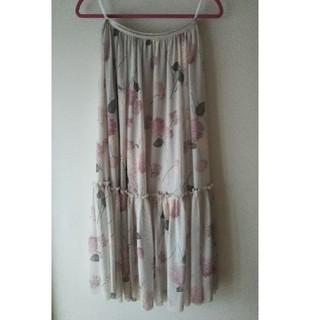 Couture Brooch - のクチュールブローチのピンク紫陽花柄 チュールスカート