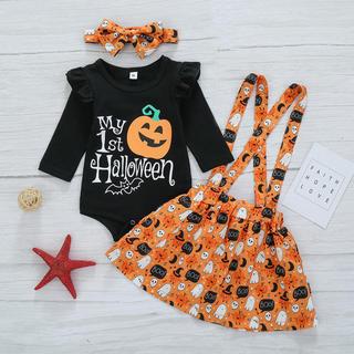 ハロウィン キッズ かぼちゃ 3点セット子供用 衣装 コスプレ 女の子 2