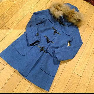 ココディール(COCO DEAL)のダッフルコート ココディール フード付き ブルー 毛革 毛革(ダッフルコート)