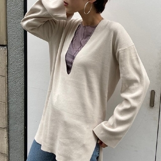 TODAYFUL - todayful Washed Vneck Knitアイボリー