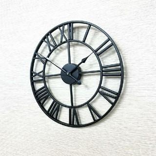 アイアンフレーム 壁掛け時計 ウォールクロック ブラック