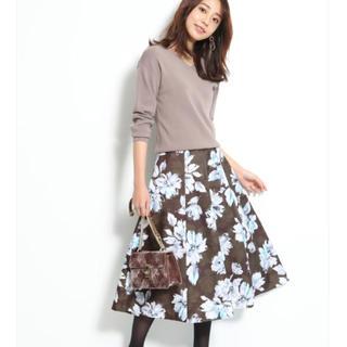 JUSGLITTY - ジャスグリッティー グラデフラワープリントスカート 茶色 Mサイズ