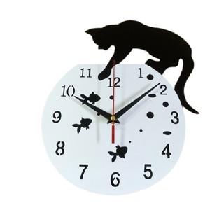 黒猫ちゃん壁掛け時計 ウォールクロック ホワイト