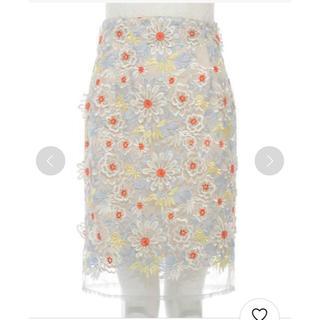 リリーブラウン(Lily Brown)のlily brown オーガンジーレーススカート(ひざ丈スカート)