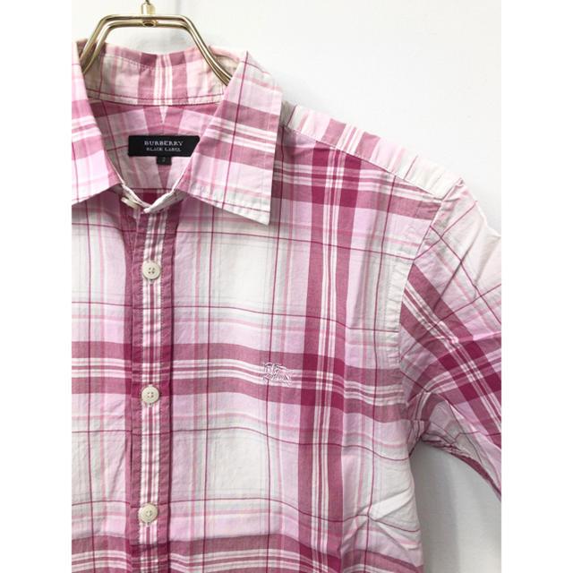 BURBERRY BLACK LABEL(バーバリーブラックレーベル)の美品 バーバリーブラックレーベル ホースマーク刺繍 チェック 半袖シャツ ピンク メンズのトップス(シャツ)の商品写真