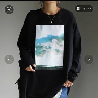 アンティカ(antiqua)のantiqua  今季 フォト Tシャツ トップス カットソー 黒 アンティカ(カットソー(長袖/七分))
