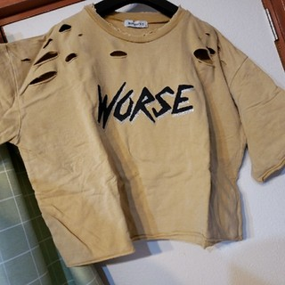 ウィゴー(WEGO)のWEGO ダメージ加工スウェット Tシャツ(Tシャツ(半袖/袖なし))