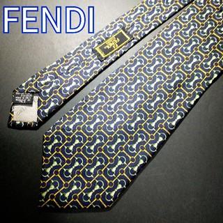 フェンディ(FENDI)のFENDI 総柄 ネクタイ ネイビー(ネクタイ)
