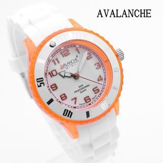 アヴァランチ(AVALANCHE)のアバランチ 腕時計 レディース ブランド オレンジ ホワイト 女性(腕時計)