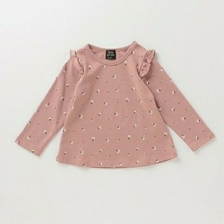 petit main - プティマイン オーガニックコットン肩フリル花柄Tシャツ チュニック 120