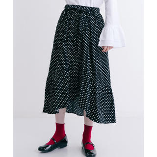 マジェスティックレゴン(MAJESTIC LEGON)のドット柄フリルテールカットスカート(ロングスカート)