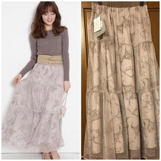 リランドチュール(Rirandture)のリランドチュール ドローイング 刺繍 チュールスカート フレアスカート 花柄 (ロングスカート)