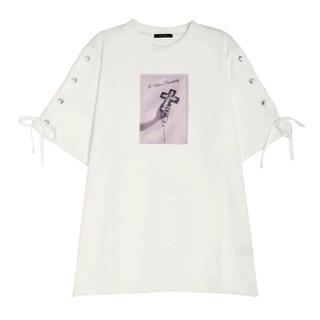 イートミー(EATME)のタイムセール0時まで☆EATME イートミー 新作 レースアップ  Tシャツ(ひざ丈ワンピース)