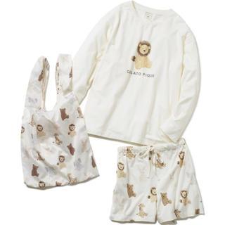 gelato pique - ぬいぐるみロングスリーブTシャツ&ショートパンツ&エコバッグSET OWHT