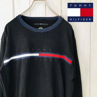 トミーヒルフィガー(TOMMY HILFIGER)の☆人気デザイン☆トミーヒルフィガー Tシャツ 黒 長袖 ロンT 大きめ L(Tシャツ/カットソー(七分/長袖))