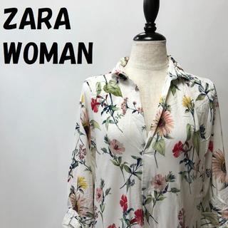 ZARA - 【人気】ZARA WOMAN 花柄 総柄 半袖 シャツ サイズM レディース