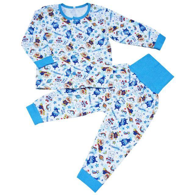 アンパンマン(アンパンマン)の新品 95cm アンパンマン 総柄腹巻付き長袖パジャマ ブルー キッズ/ベビー/マタニティのキッズ服男の子用(90cm~)(パジャマ)の商品写真