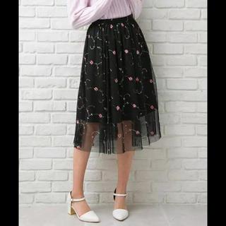 イング(INGNI)のイング 花柄スカート チュールスカート 黒 花柄 シースルー M(ロングスカート)