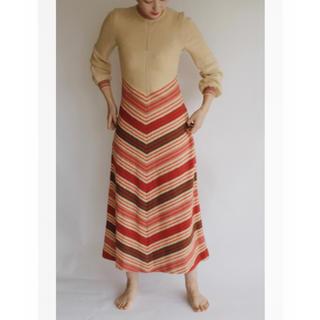 美品 vintage Knitting Long Dress Beige(ロングワンピース/マキシワンピース)
