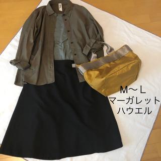 マーガレットハウエル(MARGARET HOWELL)の◆マーガレットハウエル ウール スカート 黒 (M〜L) サイズⅢ 秋冬(ひざ丈スカート)