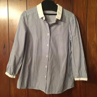 クチュールブローチ(Couture Brooch)のクチュールブローチ ブラウス シャツ 白ネイビー ストライプ (シャツ/ブラウス(長袖/七分))