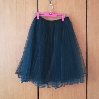 ミスティウーマン(mysty woman)のネイビーのストライプチュールスカート(ひざ丈スカート)