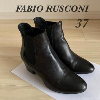 ファビオルスコーニ(FABIO RUSCONI)のファビオルスコーニ サイドゴアブーツ 37 レザー ブラック ペリーコ (ブーツ)