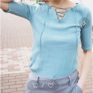 ムルーア(MURUA)の新品タグ付き レースアップトップス(カットソー(半袖/袖なし))